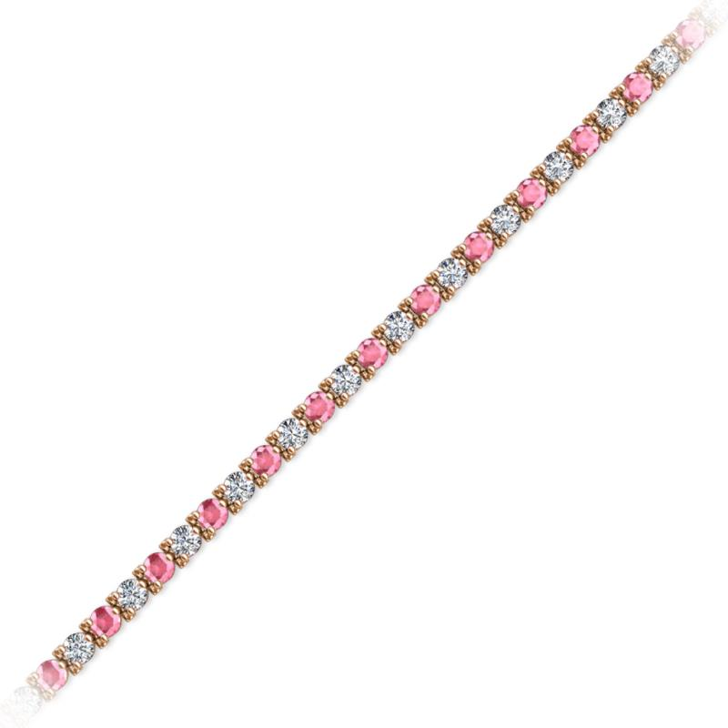 Pink Tourmaline And Diamond 3 Prong Tennis Bracelet 3 80