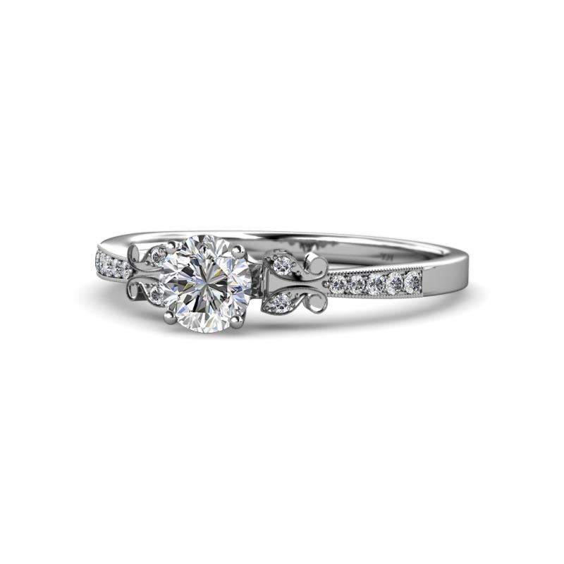 Diamond Butterfly Engagement Ring With Milgrain Work 0.97