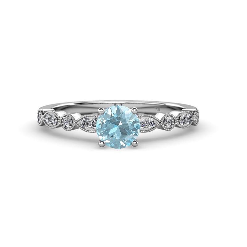 Aquamarine & Diamond Marquise Bridal Set Ring & Wedding