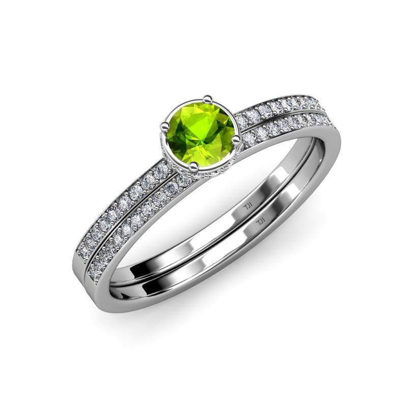 Peridot And Diamond HaloEngagement Ring & Wedding Band Set