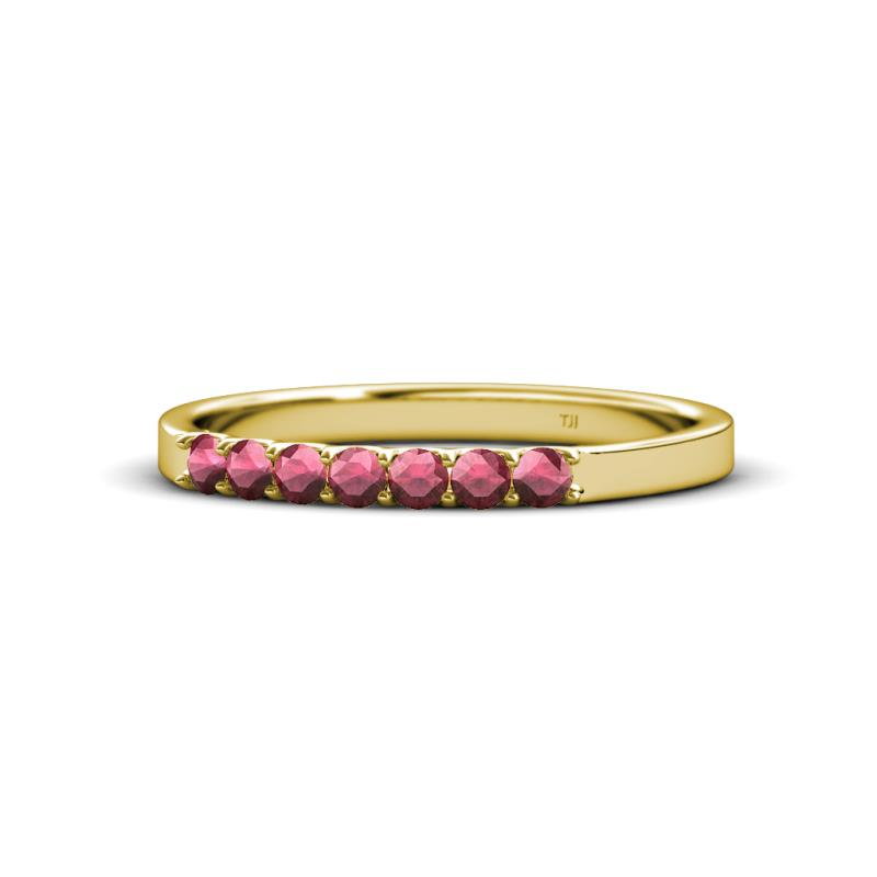fiala 200 mm rhodolite garnet wedding band rhodolite garnet 7 stone wedding band 025 ct tw in 14k yellow gold trijewels