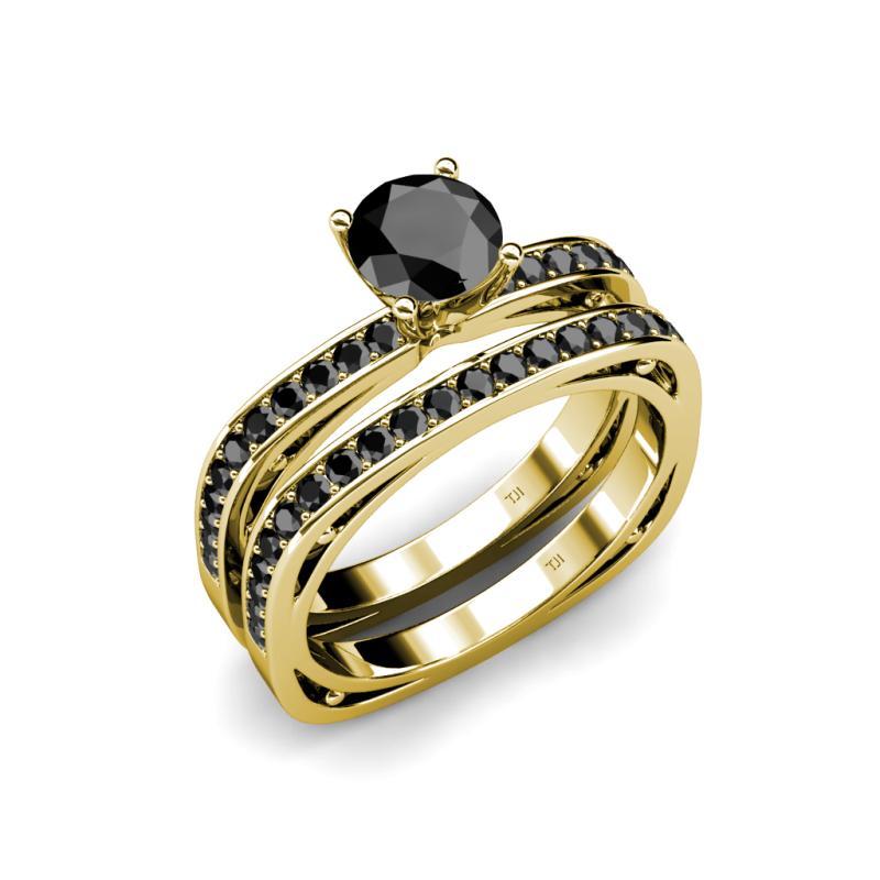Square Shape Bridal Set Ring Black Diamond Four Prong Square Shape Bridal S