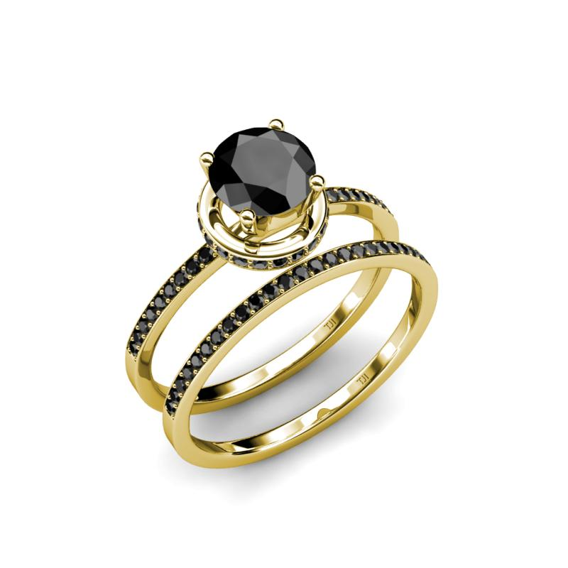 Halo Bridal Set Ring Black Diamond Four Prong Halo Bridal Set Ring & We