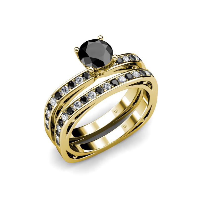 Square Shape Bridal Set Ring Black and White Diamond Four Prong Square Shap