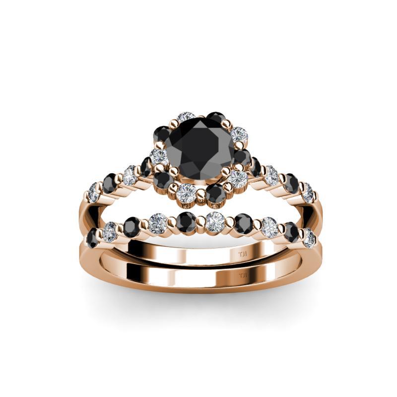 Halo Bridal Set Ring Black and White Diamond Four Prong Halo Bridal Set Rin