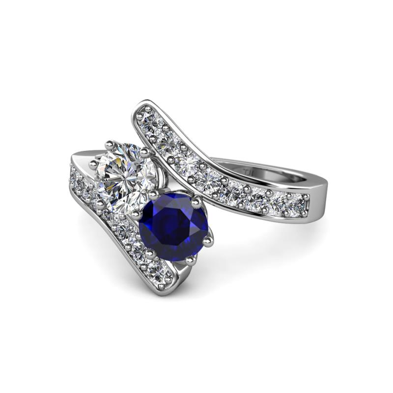 Zoia Diamond and Blue Sapphire with Side Diamonds Bypass Ring Diamond and B