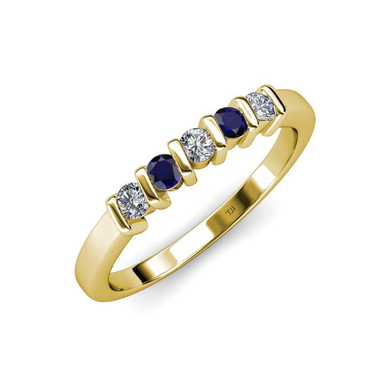 Talia 3 00 mm Blue Sapphire and Diamond Wedding Band Blue Sapphire and Diam