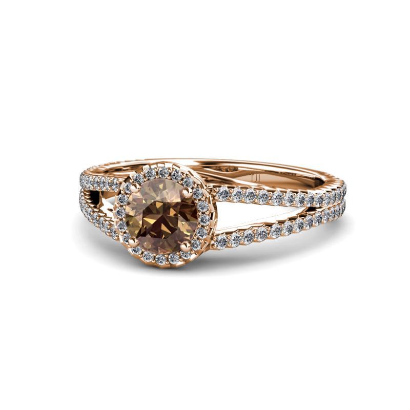 Aylin Smoky Quartz and Diamond Halo Engagement Ring Smoky Quartz