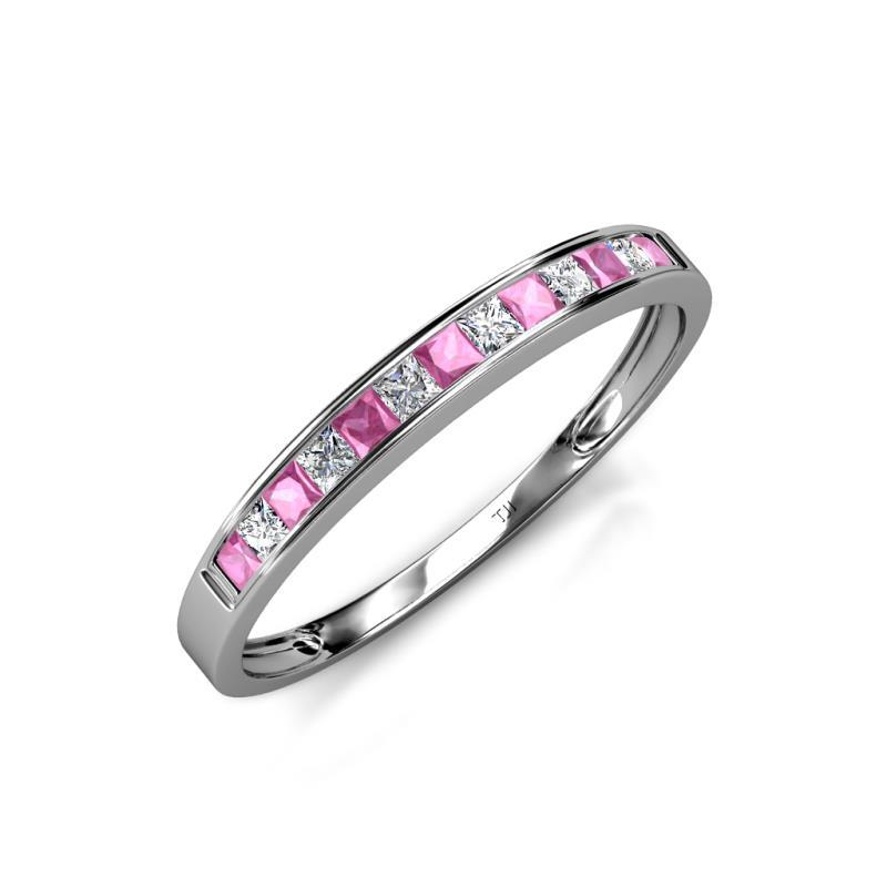 Aqilia 2 00 mm Pink Sapphire and Diamond Wedding Band Pink Sapphire and Dia