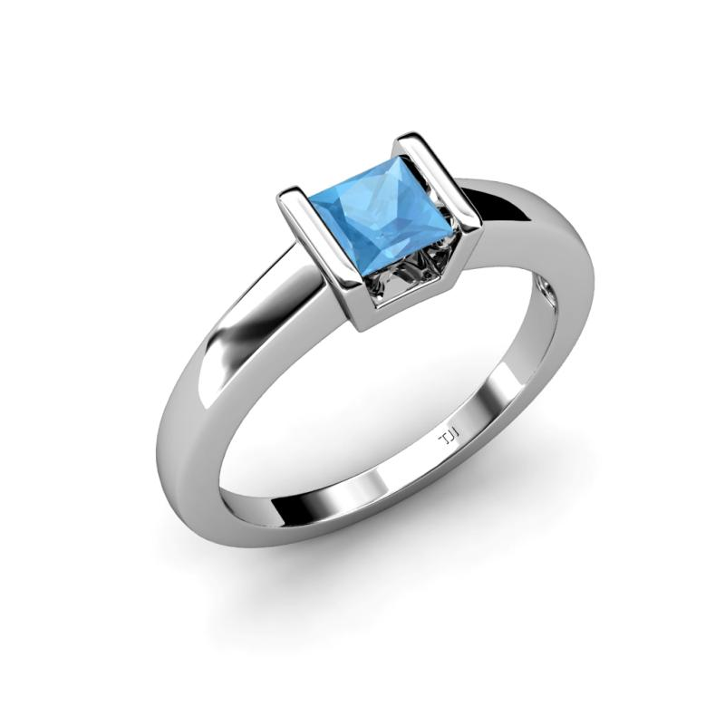 izna blue topaz solitaire ring blue topaz princess cut