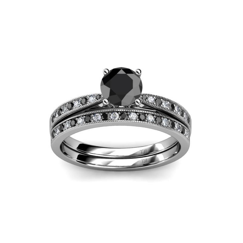 Bridal set ring black and white diamond four prong for Work wedding rings