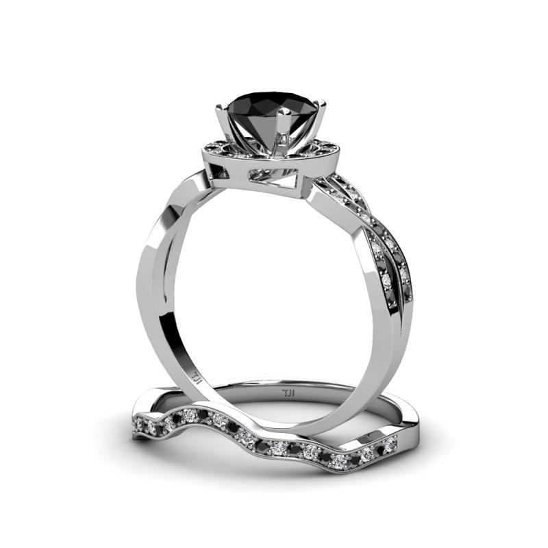 Halo Swirl Bridal Set Ring Black and White Diamond Four Prong Halo Swirl Br