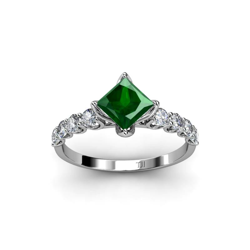 Alicia Emerald Engagement Ring - Diamond (SI2-I1, G-H) and Center Lab  Created Emerald Princess Cut Engagement Ring 1.38 ct tw in 14K White Gold.  | TriJewels