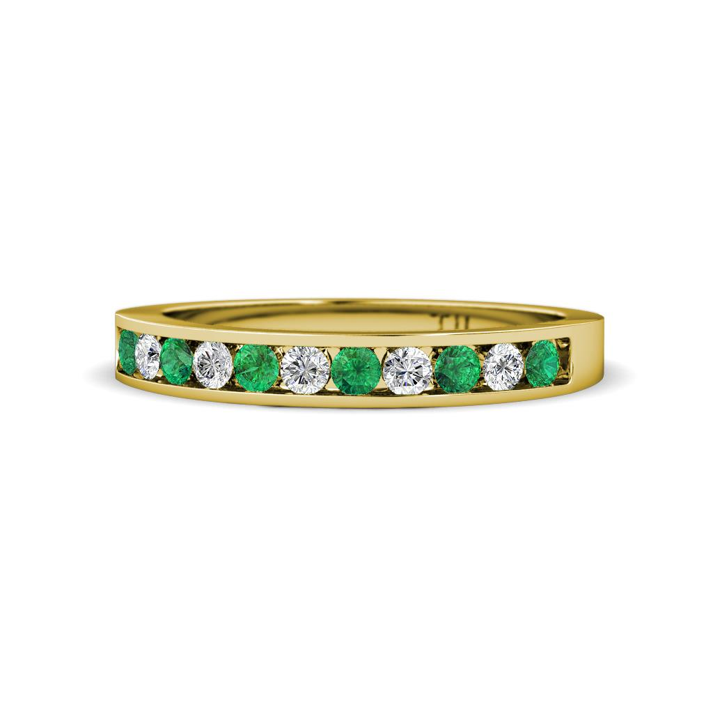 ryann 200 mm emerald and diamond wedding band emerald and diamond si2 i1 g h 11 stone channel set wedding band 028 cttw in 14k yellow gold