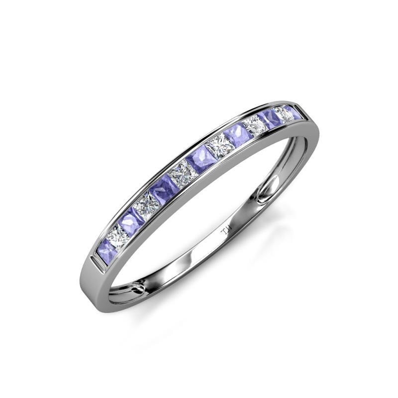 Aqilia 200 mm Tanzanite and Diamond Wedding Band Tanzanite and