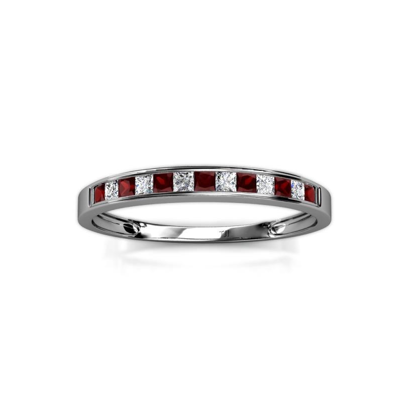 Aqilia 200 mm Red Garnet and Diamond Wedding Band Red Garnet