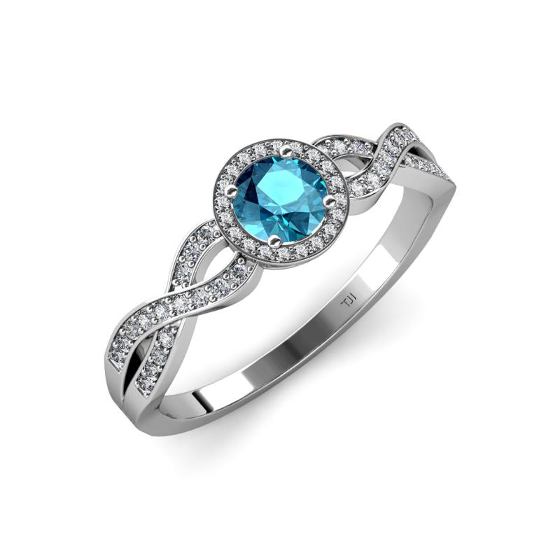 alita blue topaz and swirl halo engagement