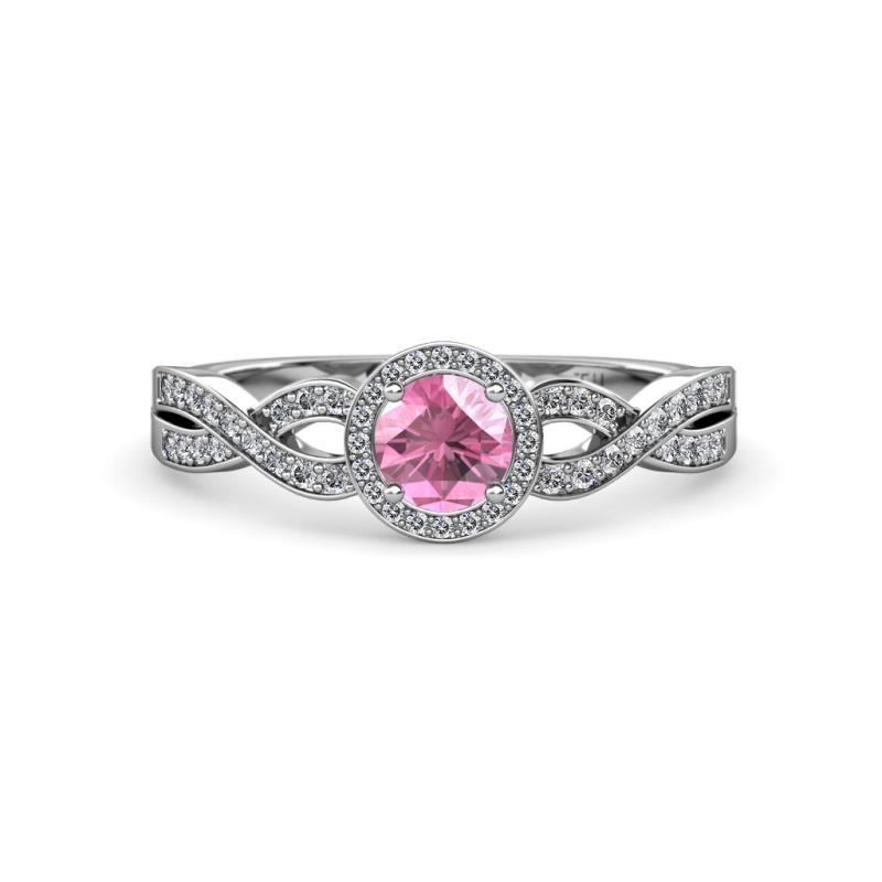 alita pink tourmaline and swirl halo engagement