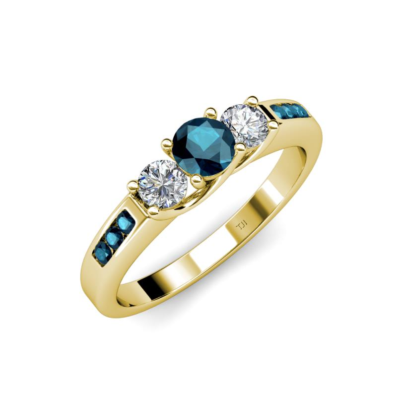 Blue and White Diamond (SI2-I1, G-H) Three Stone Ring with Blue ...