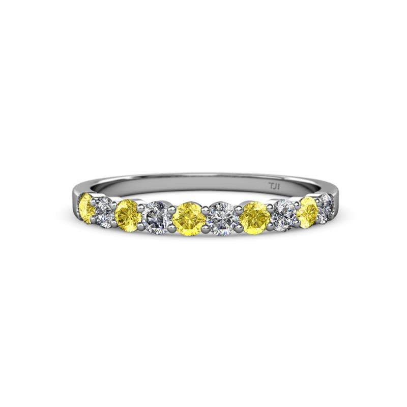 Yellow Shire And Diamond Si2 I1 G H 10 Stone Wedding Band 0 70