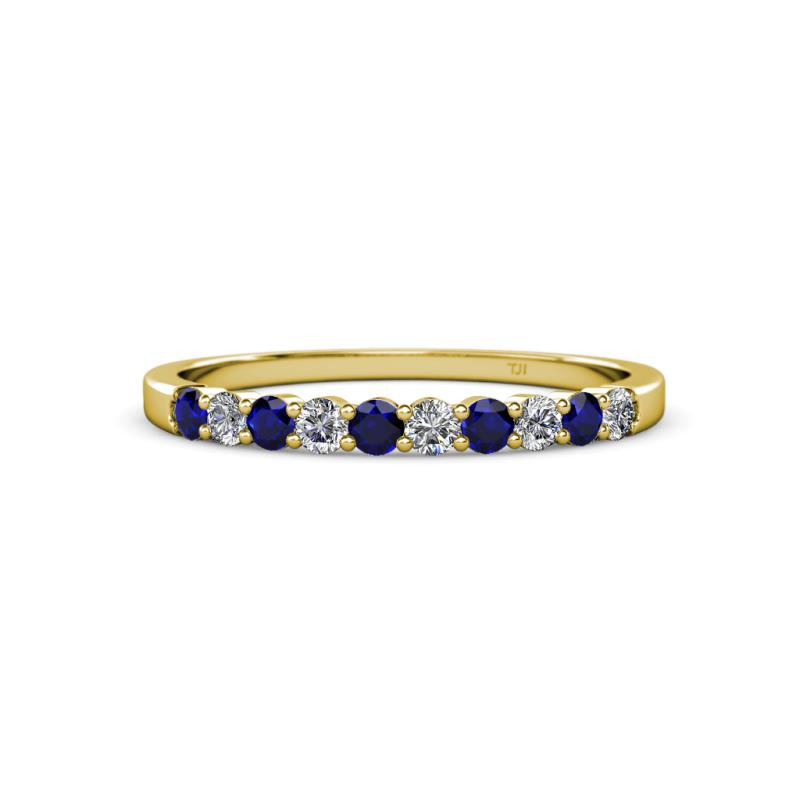 Round Blue Sapphire Diamond 10 Stone Women Stackable Wedding Band ...