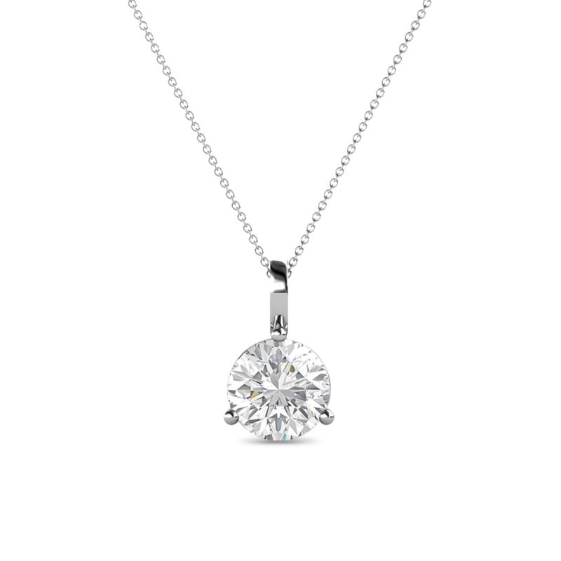 White sapphire 3 prong womens solitaire pendant necklace 092 ct 14k 1109784 aloadofball Gallery