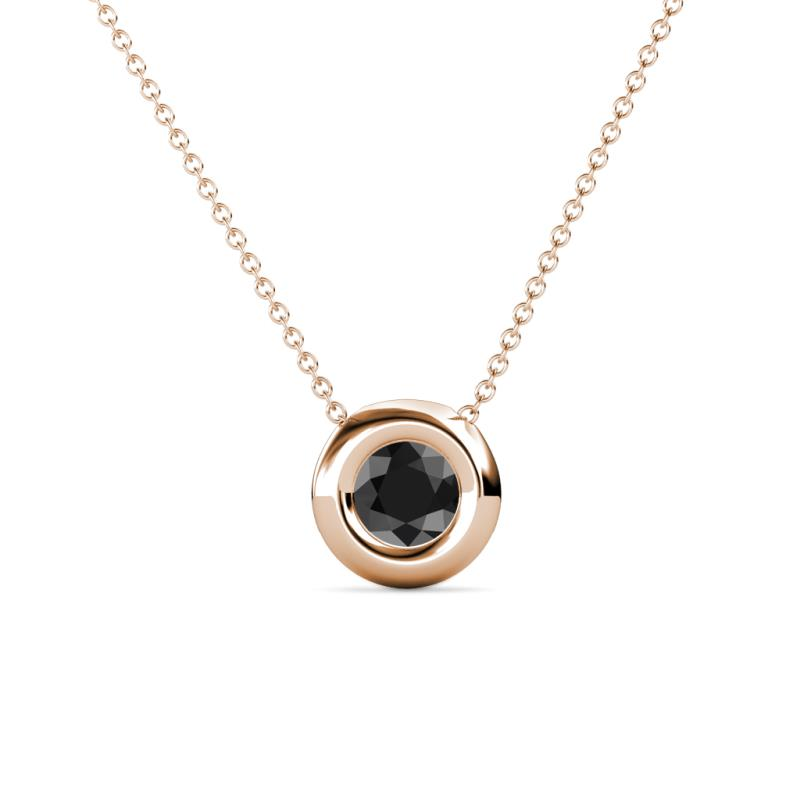 Black diamond bezel set solitaire pendant 050 ct in 14k rose gold 1122244 mozeypictures Image collections