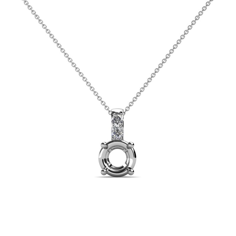 Semi mount solitaire pendant with diamond studded bail si2 i1 g h semi mount solitaire pendant with diamond studded bail si2 i1 g h in 14k white goldcluded 18 inches 14k white gold chain trijewels mozeypictures Image collections