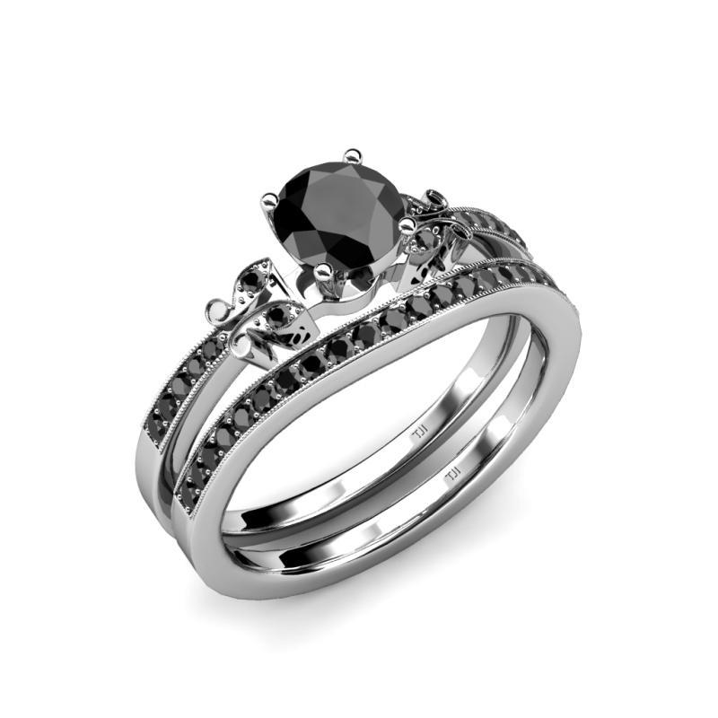 Black diamond four prong milgrain work bridal set ring for Work wedding rings