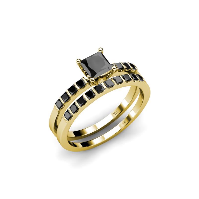Black Diamond Princess Cut Four Prong Bridal Set Ring Wedding Band