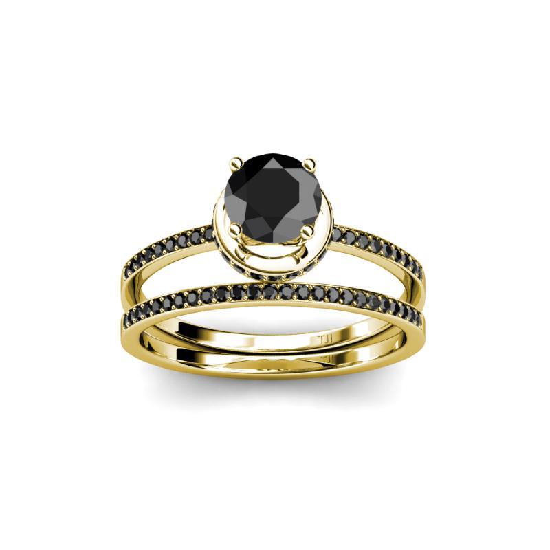 Black Diamond Four Prong Halo Bridal Set Ring & Wedding Band 1 80