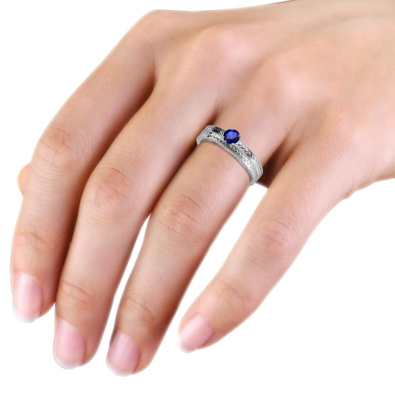 Blue Sapphire Engraved Solitaire Engagement Ring Wedding Band with
