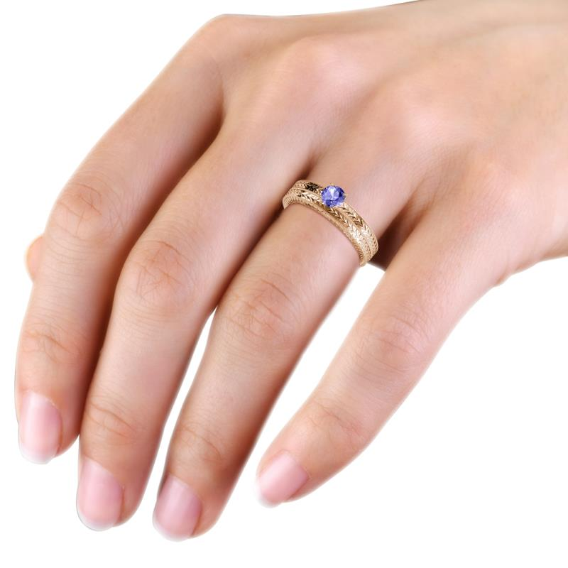 Keona Tanzanite Solitaire Bridal Set Ring Tanzanite Engraved