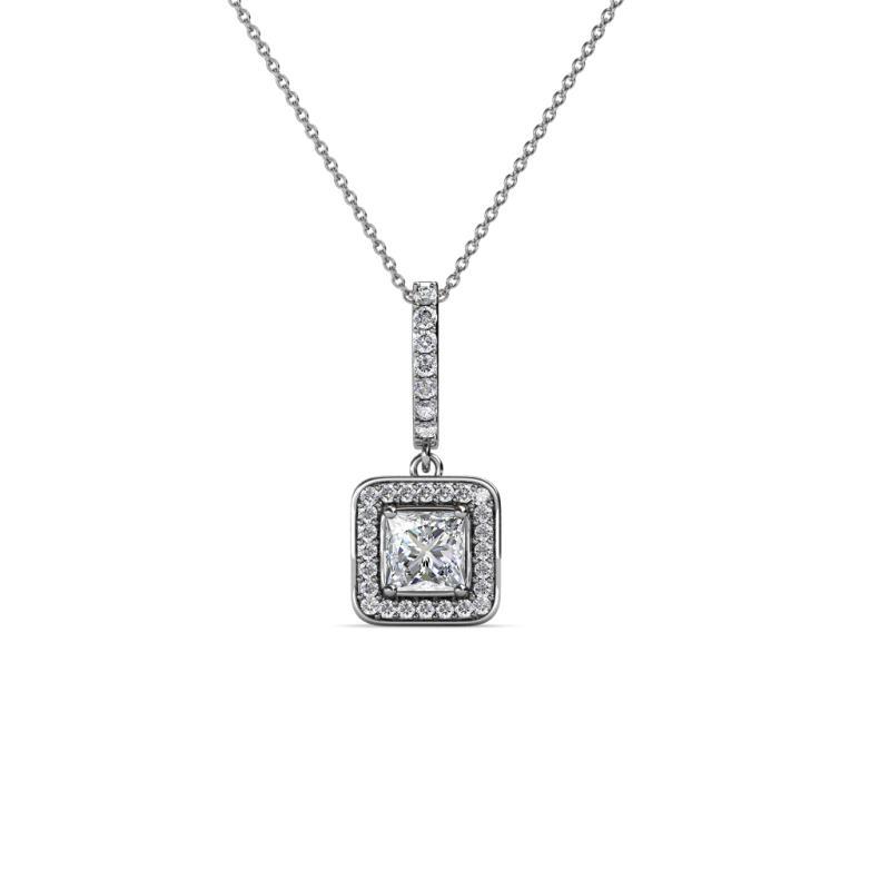 28a9fa6fd2fc08 Princess Cut (3.5 mm) Diamond Womens Halo Pendant Necklace 0.40 ctw ...