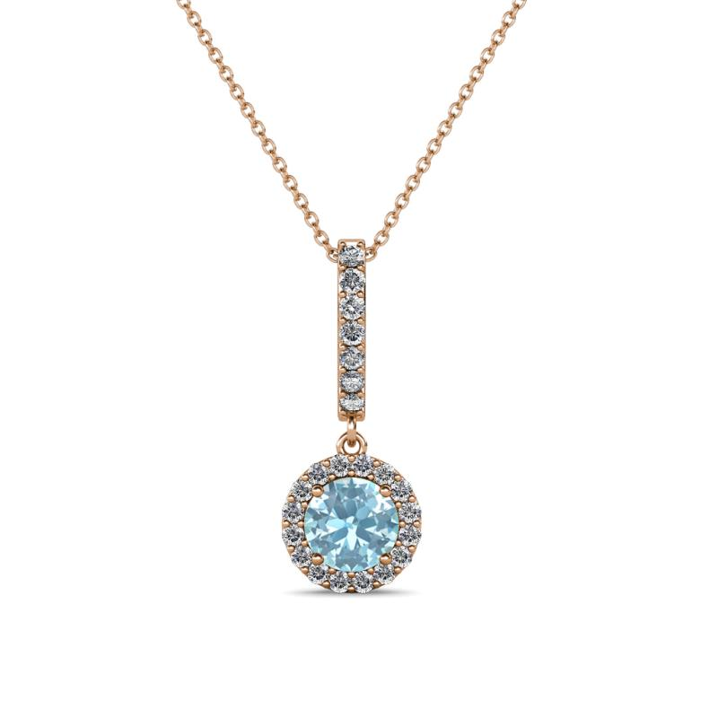 Aquamarine diamond i1 i2 h i halo pendant 037 carat tw in 14k 1210440 aloadofball Image collections