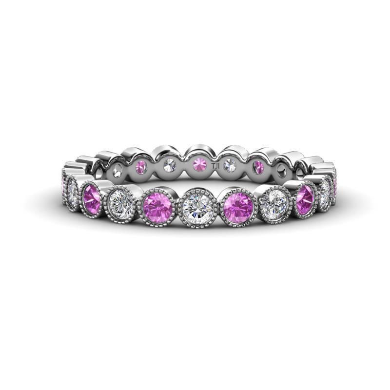 9195934704d Amethyst and Diamond Bezel Set Milgrain Womens Eternity Ring ...