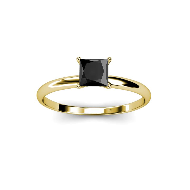 Black Diamond Princess Cut Solitaire Ring 3 00 ct in 14K Yellow