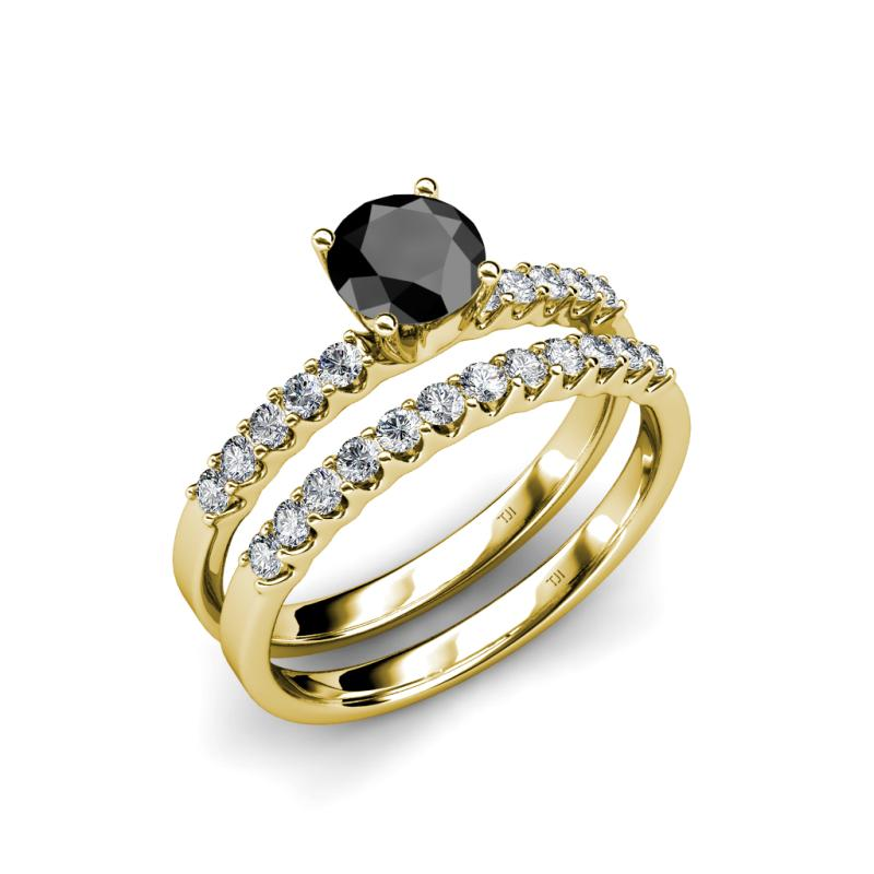 Matching Diamond Engagement And Wedding Ring 1 46ct: Black And White Diamond Four Prong Womens Engagement Ring