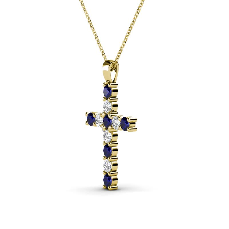petite blue sapphire and diamond womens cross pendant. Black Bedroom Furniture Sets. Home Design Ideas