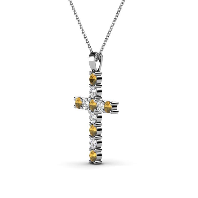 Petite citrine and diamond si2 i1 g h cross pendant 033 ct tw in petite citrine and diamond cross pendant aloadofball Gallery