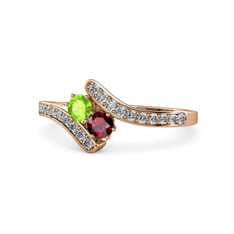 Peridot And Ruby 2 Stone With Side Diamonds Womens Bypass Engagement