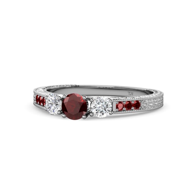 dd83488dd6590 Red Garnet and Diamond Three Stone with Side Red Garnet Ring