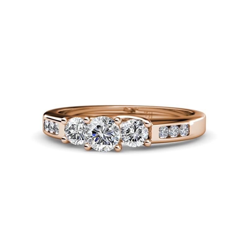 Diamond Womens Three Stone Engagement Ring with Diamond on Side Bar 0.79 ctw 14K Rose Gold