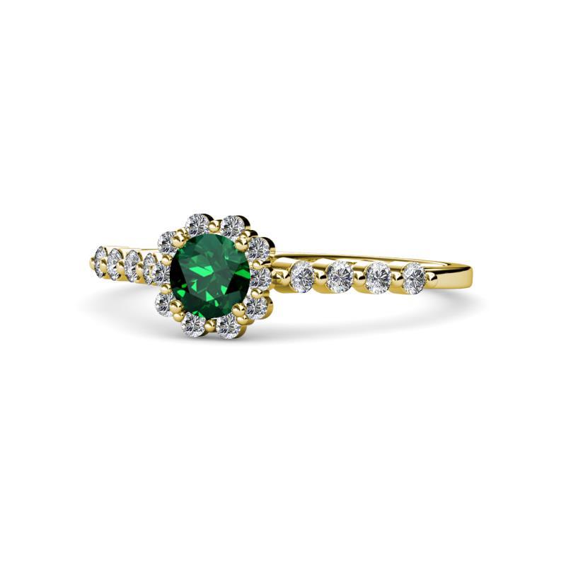 cc5e7e73470 Fiore Emerald and Diamond Halo Engagement Ring - Emerald and Diamond ...
