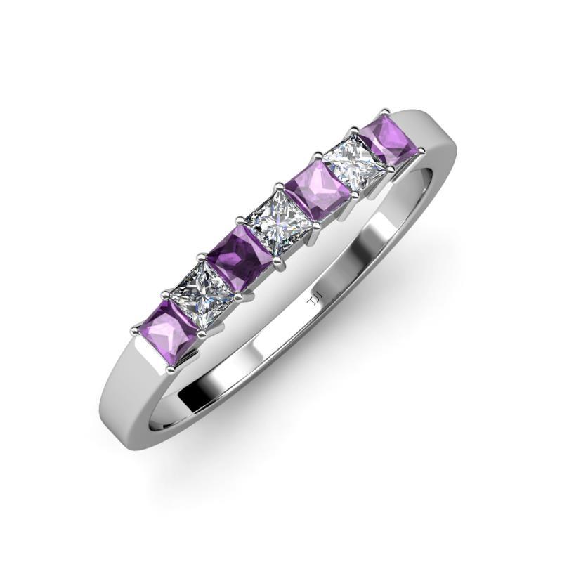 Amethyst and Diamond SI1SI2 GH 7 Stone Wedding Band 102 cttw