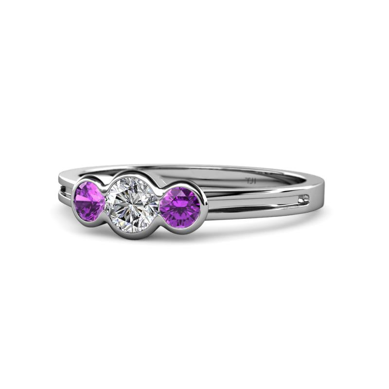 Diamond and Amethyst Womens Three Stone Engagement Ring 0.47 ctw 14K White Gold.