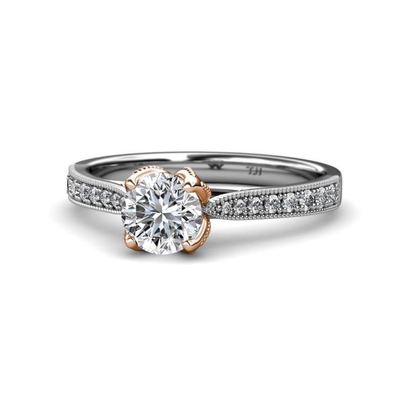 Two Tone Enement Rings | Diamond Two Tone Milgrain Solitaire Plus Womens Engagement Ring 1 16