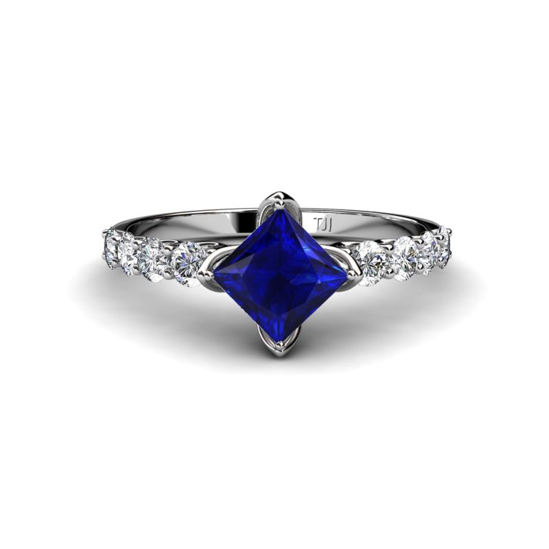 Diamond and Princess Cut Lab Created Blue Sapphire Engagement Ring