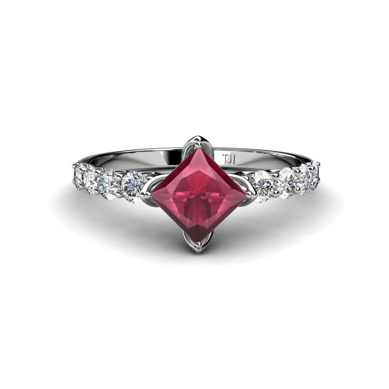gold rings garnet with ring diamonds rose in rhodolite