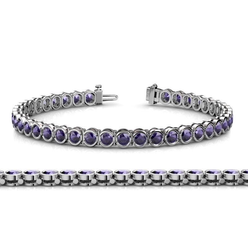 Iolite channel set womens eternity tennis bracelet 8. 20 ctw 14k.